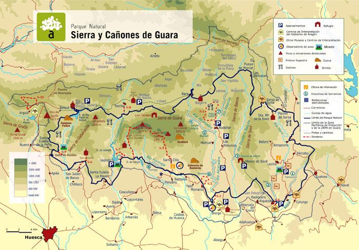 Mapa de la Sierra de Guara(fuente www.aragon.es)